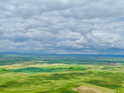 The Palouse Hills, Clouds, Mountains as seen from Steptoe Butte, Washington
