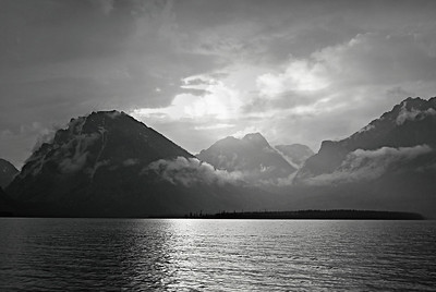 Jackson Lake at Dusk, B&W
