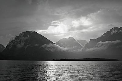 Jackson Lake at Dusk, B&W