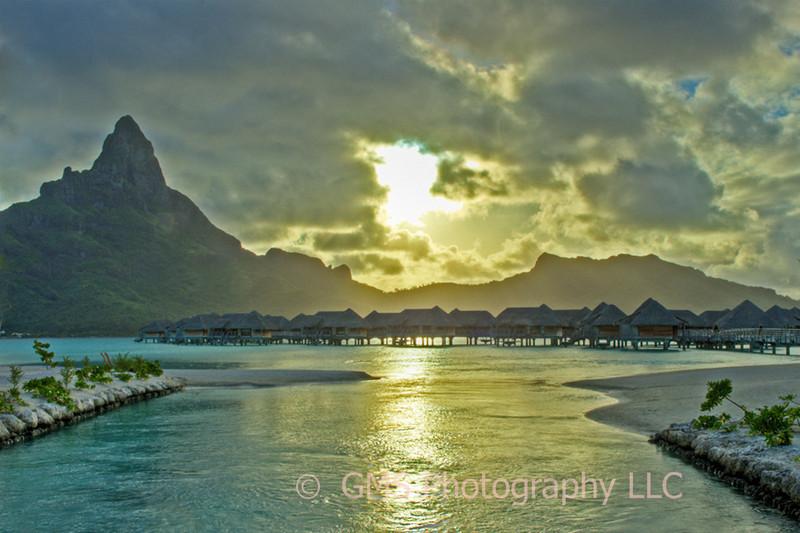 Sunset from a Motu on Bora Bora looking twward Mount Otemanu
