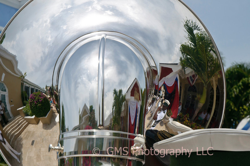 Reflection of surroundings in tuba during performande of the Royal Bahamas Defense Force Band, July 2010