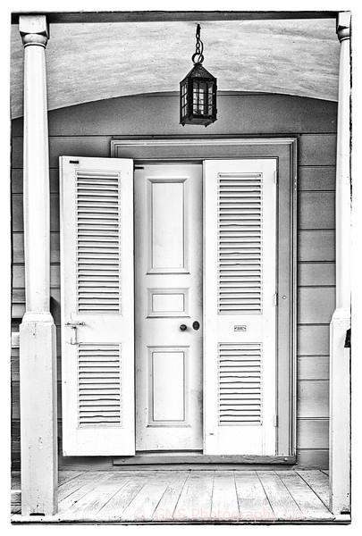 Entrance to preserved home in Colonial Williamsburg, Williamsburgh, Virginia.