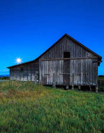Moonrise over Barn