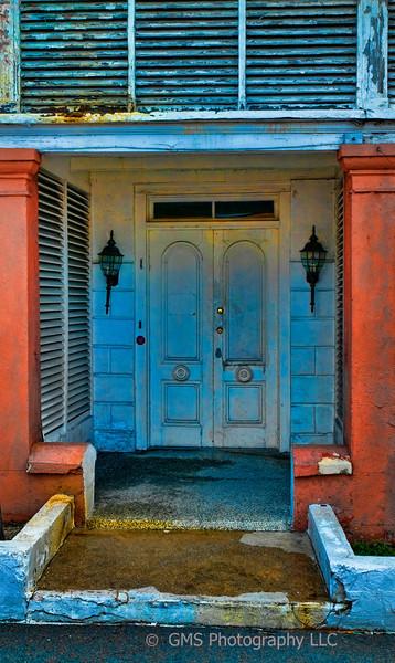 Weatherbeaten doorway on West Hill Street, Nassau, Bahamas