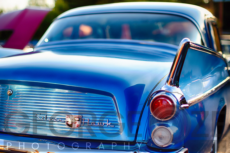 Back View of a Studebaker Silver Hawk Vintage Automobile