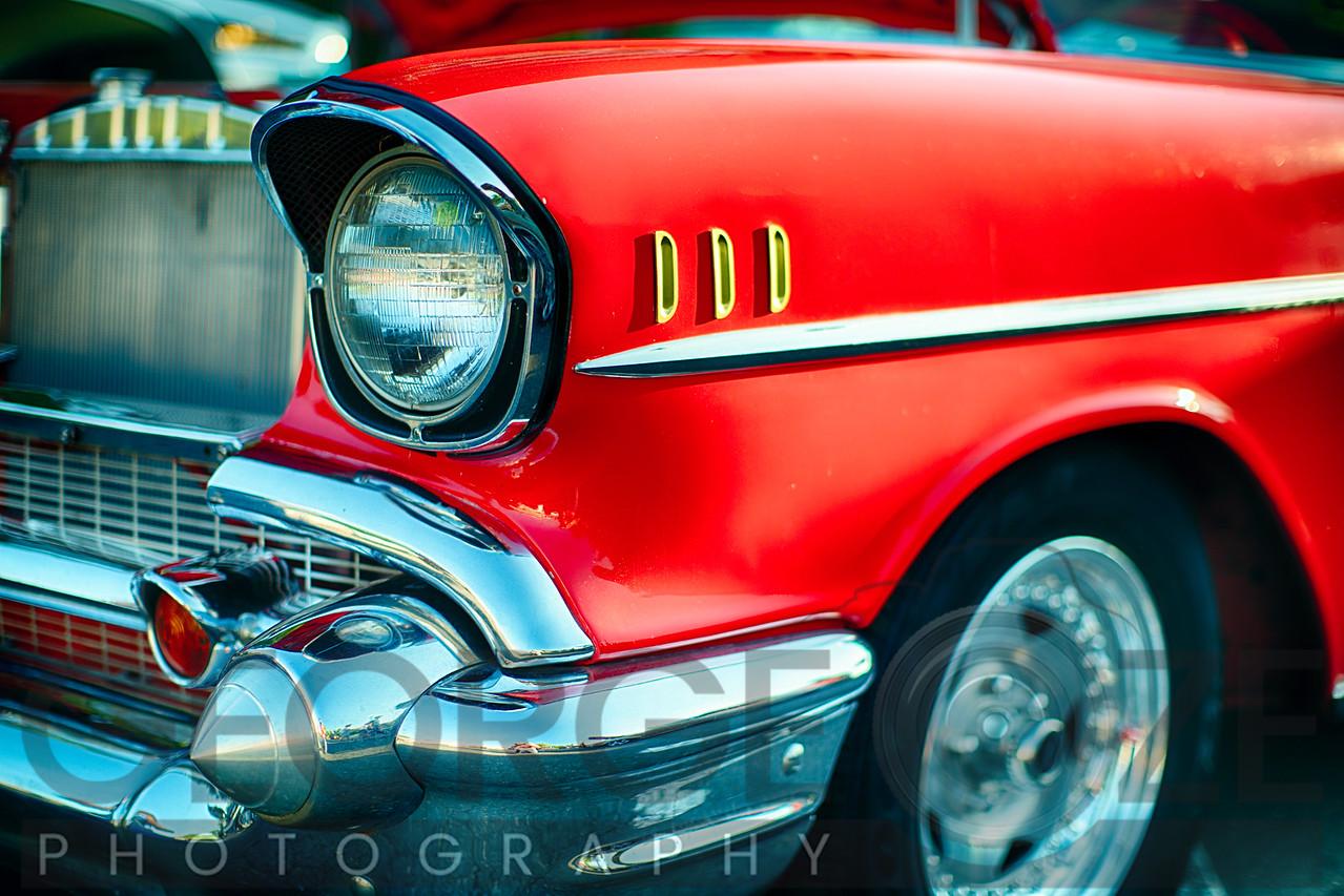 Bumper and Headlight Close up of a Vinatge Chevrolet