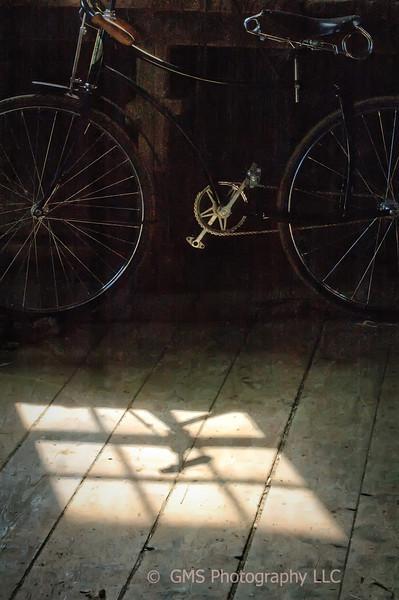 Bike and Light In Barn