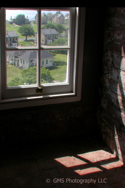 View of Sandy Hook from window of lighthouse
