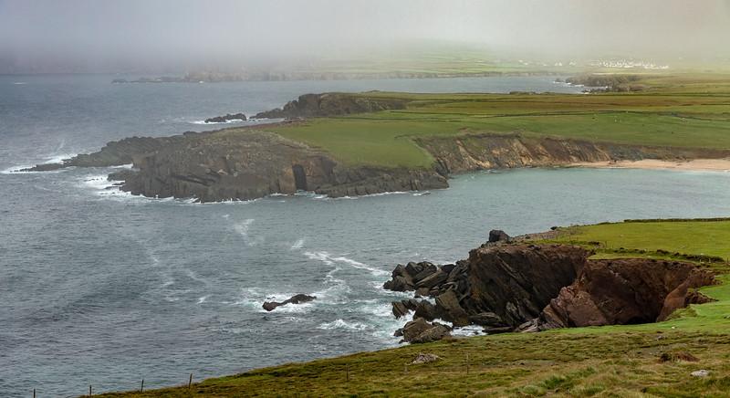 Fog Over Cliffs and Grass