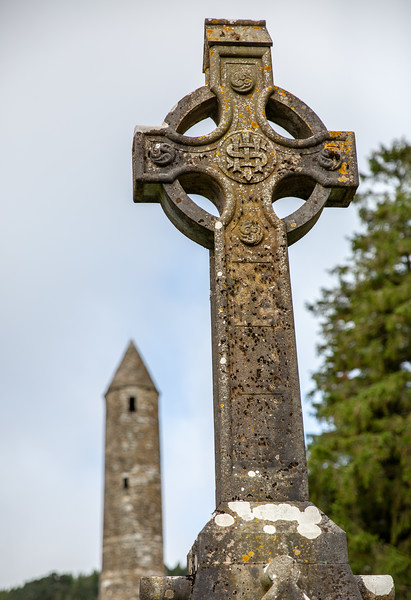 Celtic Cross with Tower in Background