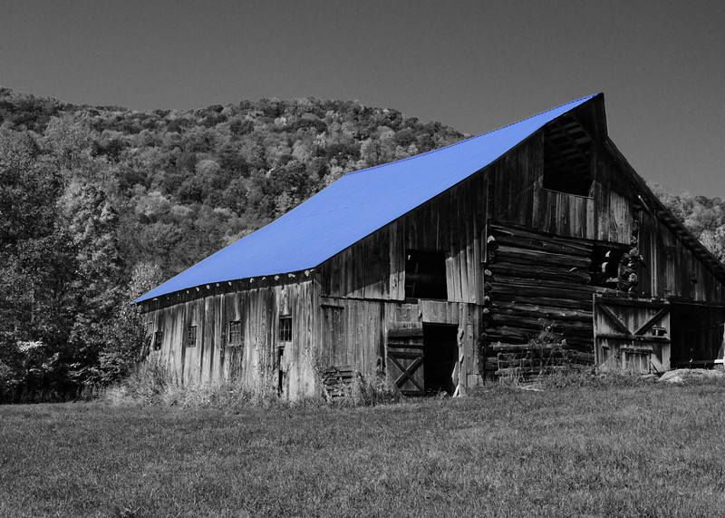 blue roof barn<br /> Taken near Marlinton, WV