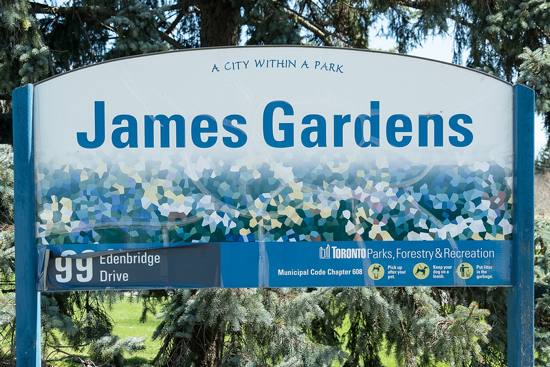 """James Gardens, a former estate on the west bank of the Humber River, is known for its flower gardens, terraced stone pathways beside sparkling spring-fed pools and streams, and mature trees. The park features the historic James Gazebo, along with terraced pathways and the original home """"Red Gables"""". Here, you can also find lawn bowling, cross-country skiing, memorial cairn in rose garden, and a scenic lookout over the Humber Valley to downtown Toronto."""