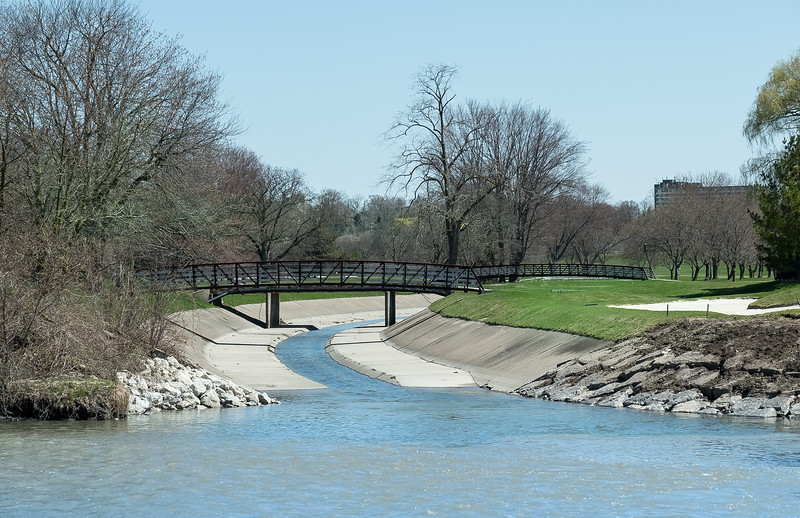A creek merges with the Humber river. Note the slight shift in colour!