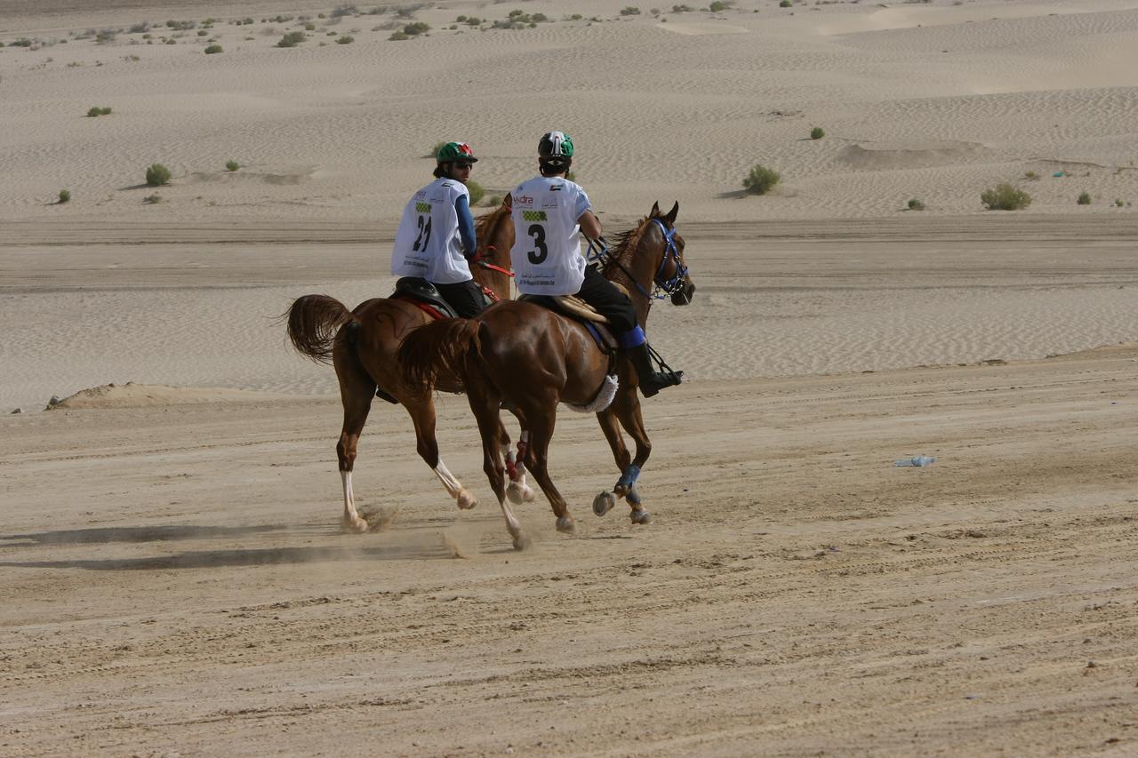#3, Sheikh Hamdan rides out with #21,<br />  Sultan Ahmed Al Baloushi