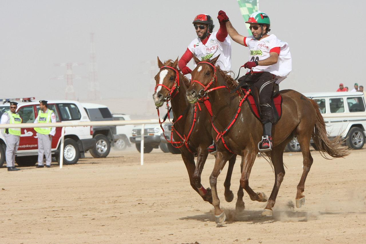 Winner and runner up.<br /> #22, left -Yousef Al Bloushi, winner<br /> #20, Omair Al Bloushi, 2nd