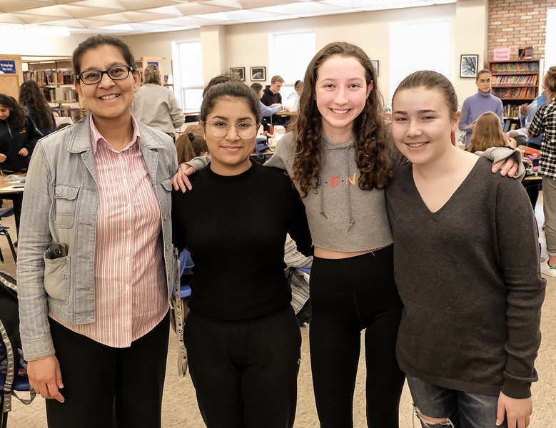 L-R: ECI teacher/Interact Liason Saira K with Pearl (Interact club President Elect) along with Board members Makayla and Madeleine
