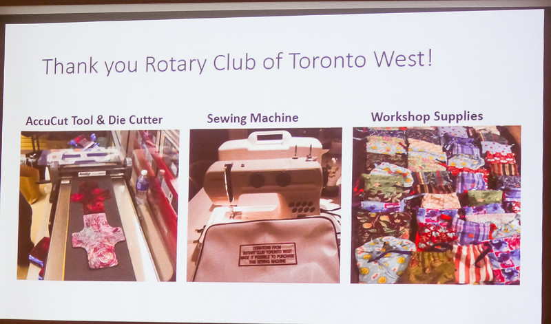 Funds donated by our Rotary Club of Toronto West have helped to buy equipment to greatly increase the rate of production.