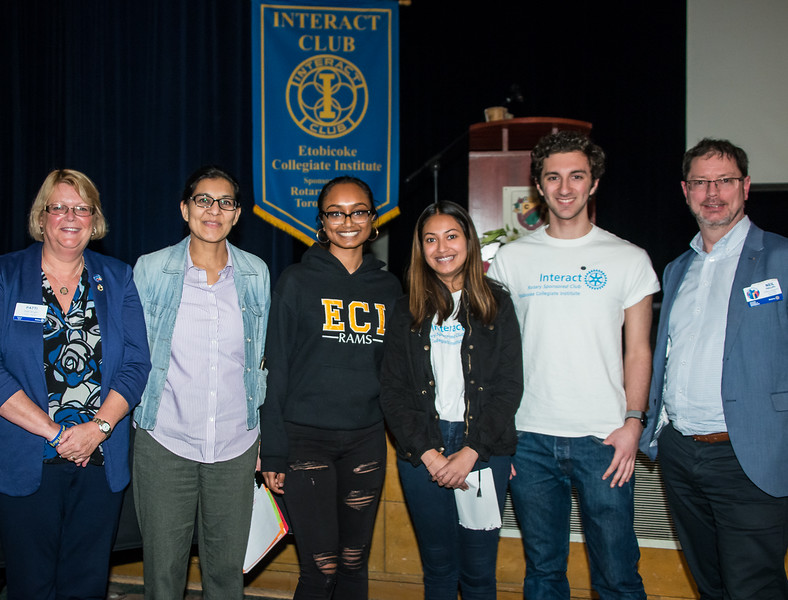 (L-R) Patti Wright - Rotary Toronto West, ECI teacher Saira Kirefu with Interact Students. Rotary 7070 District Governor Neil Phillips at far right