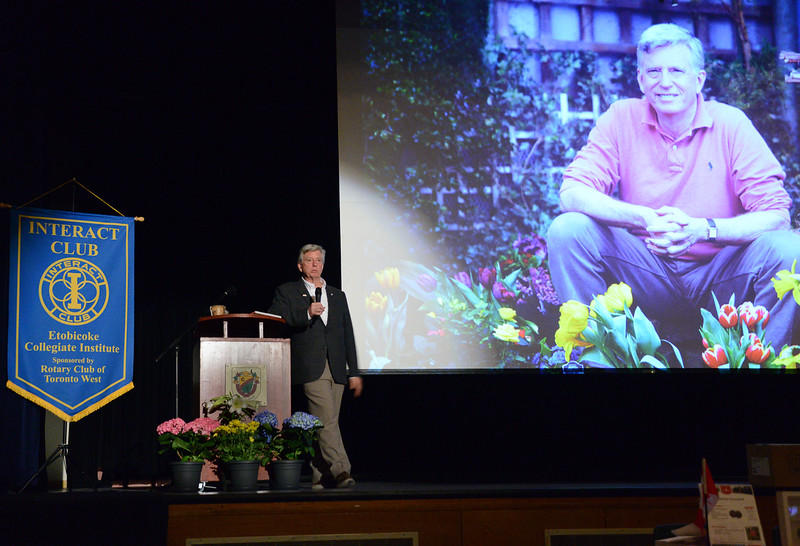 """Mark Cullen provided an introduction to the Joys of Gardening before speaking of his support for the massive project to plant 2 million trees along the 401 """"Highway of Heroes"""" project, a tribute to the men and women who fought for Canada in our wars, and a living memorial to the 117,000 who sacrificed their lives for freedom."""
