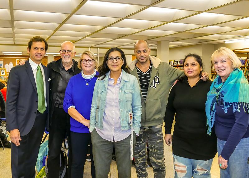 ECI teacher Saira Kirefu (C) with Rotary Toronto West members helping out: Mike Newediuk, John Stevenson, Patti Wright,     then  San Dutt with wife Leena and Susan McCoy