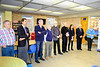 Rotarians (L-R)  Andrew (associate of Gaston), Mike N, David C, Paul C, Bryan P, Sarah D, Don F and Susan M.  All are in a line to present each inductee with a certificate of membership, a membership card, an Interact pin, a District 7070 Pin for 2018-19 and a Toronto 2018 Convention Pin. Congrats to all.