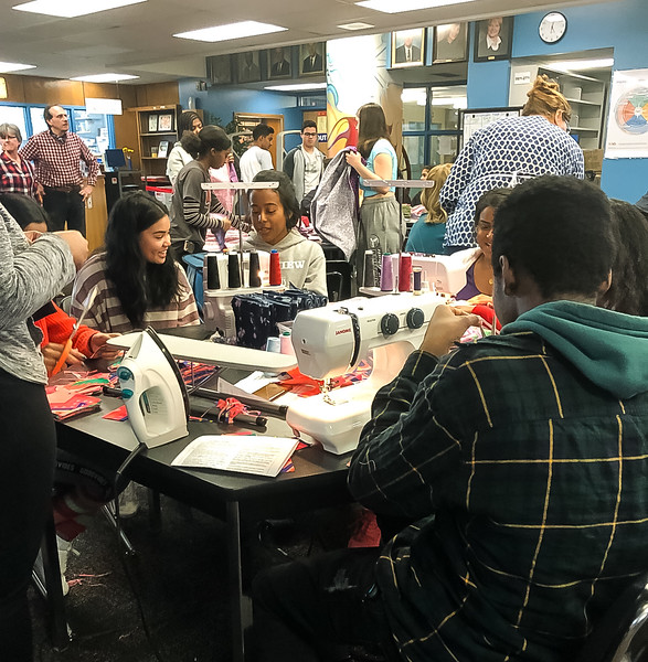 """25 Richview Collegiate Students volunteered for the Rotary Interact Club effort to help with fabricating and assembling kits for this """"Days For Girls""""  project."""