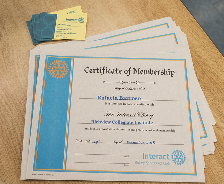 Each new member receives a Certificate and a Membership Card.