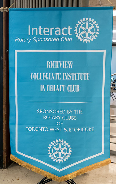 The RCI Interact club banner. There are over 460, 000 members in 20,300 Interact clubs in 159 countries. Congratulations to all the new inductees at RCI. Our two Rotary clubs are proud to have sponsored your enthusiastic club.