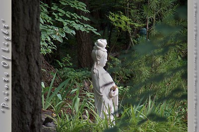 A beautiful statue of Quan Yin, the Goddess of Mercy in the center of a private garden dedicated to her.  In the woods near Mount Shasta, California.