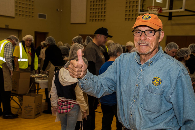 "Fred Mandryk  from Rotary Club, Bowmanville gives this morning's effort the ""Thumbs Up""!"