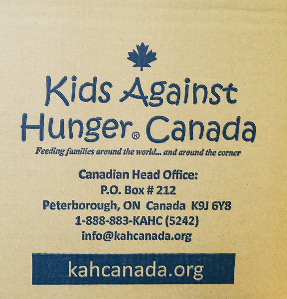 All supplies, equipment and food prep attire were provided by the Kids Against Hunger Canada  organization. Based in Peterborough, Ontario, KAH Canada is part of a global organization feeding families around the world and locally. Since it's launching, Kids Against Hunger and affiliates have distributed two billion meals in over 80 countries!