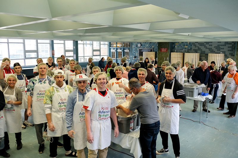 About 65 students were on deck, eager to get on with the assembly of 1800  meal packs which, with simple preparation, would provide 10,800 meals.