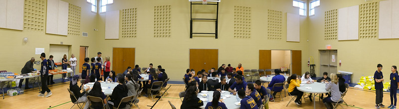 """All participants to this meal assembly project were treated to """"pizza and pop"""" before the work began."""
