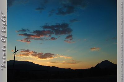Just another beautiful sunset from Mount Shasta, California; that's Black Butte on the right.