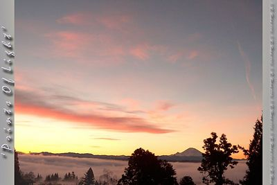 "Did you ever see the movie ""The Gods Must Be Crazy""?  There was a memorable scene near the end where there was a view of a cloud layer from above.  This particular morning the freezing cold fog was just below me at sunrise, making for one of my most memorable views of Mount Rainier I've ever seen."