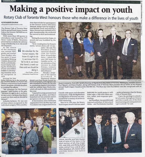 Etobicoke Guardian -  RYIA Dave Dryden -  Feb 6, 2014 issue