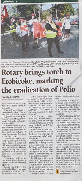 "Etobicoke Guardian - Rotary Interact ""End Polio"" celebration - May 28 2015 issue"