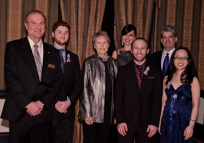 "RTW President Leighton Reid, Youth Award Recipients: Aaron Brown (under 18), Dr Roberta Bondar (Lifetime Achievement), Jessica  & Derek Reid - (FEAT) at rear,  Michael Prosserman (Individual) , Stephanie Wang (under 25), Absent: Rosanne Longo, recipient of the ""Business"" Youth Impact Award."