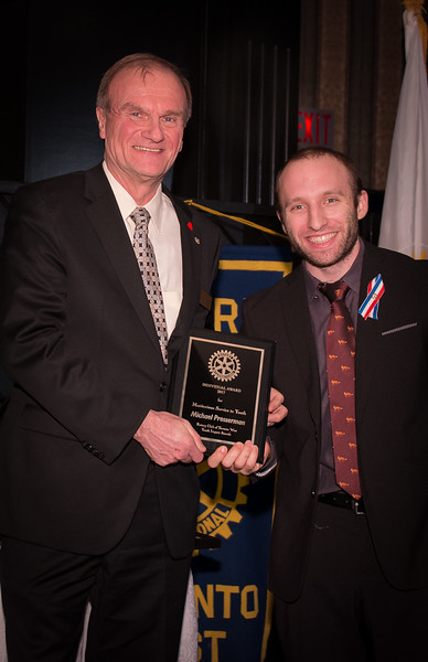 """Michael Prosserman receives the """"INDIVIDUAL"""" Achievement Award. You can see his UNITY video taken at the  Rotary 7070 Conference by browsing our Rotary PUBLIC EVENTS folder in this website"""