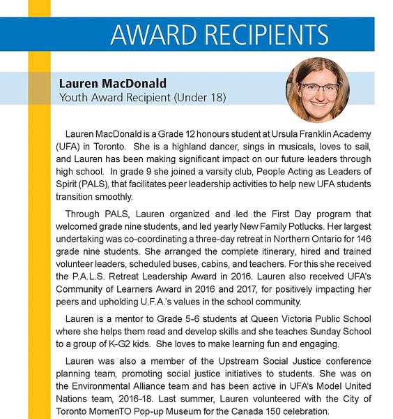 Lauren MacDonald Bio  - RYIA Under 18 Recipient.