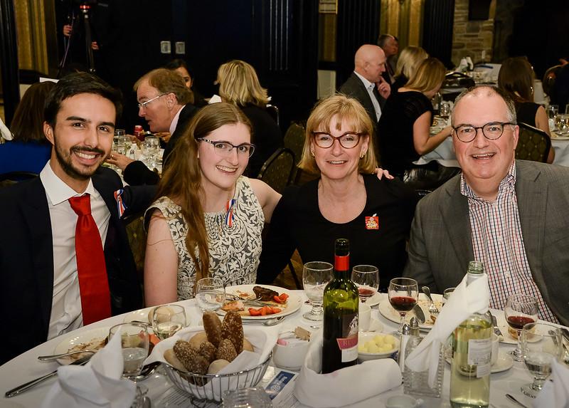 RYIA Recipients table Jaxson Khan; Lauren MacDonald with parents Anna and Stuart