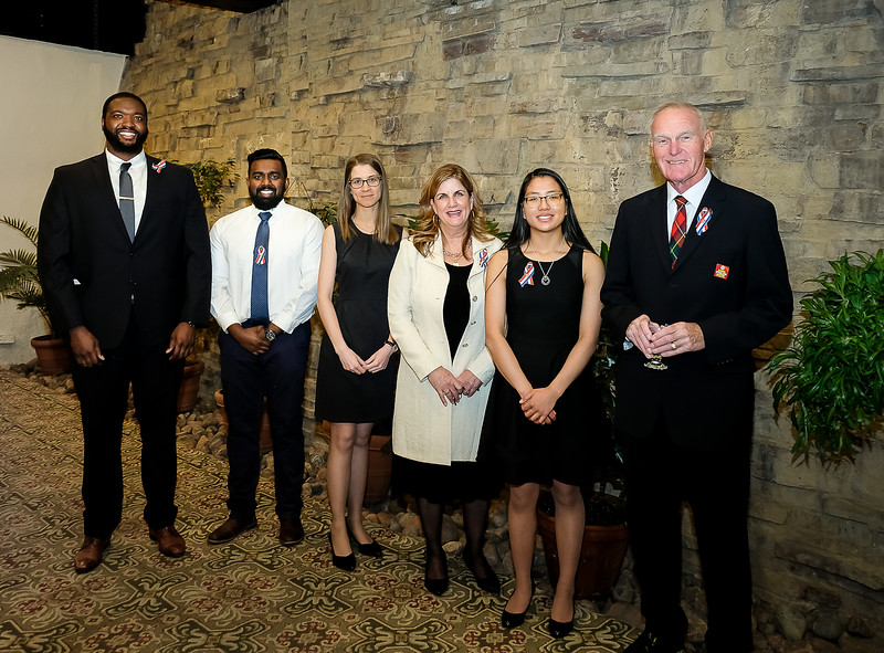 Traditional annual group photo of recipients. L-R: Jamal Campbell (Individual under 25); Taylor Jennings and Dhakshan Ravibalan for YMCA of Greater Toronto - Summer Day Camps for the Community Organization award; Denise Bebenek, Lifetime Achievement Award; Claire Neilson, Individual under 18; Bruce Boyd, Individual award.    Two other recipients for the Business Award were delayed - so their photos follow 2 slides later…