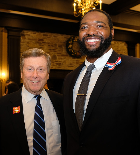 "Our Toronto Mayor John Tory took some time from his busy schedule to drop by and give his personal congratulations to our award recipients.  Jamal Campbell is the ""Under 25 Youth Award Recipient""  and an active mentor for youth, using his sports background as a platform for motivating youth."