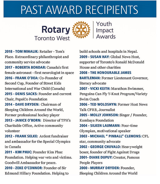 """RTW Lifetime Award recipients over the past 19 years. Now an even 20 years with Denise Bebenek to be added! An impressive display of some very remarkable  people who have all  """"made a difference"""" to make this a better world."""