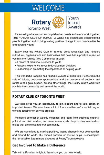What this event and Rotary Toronto West are all about.