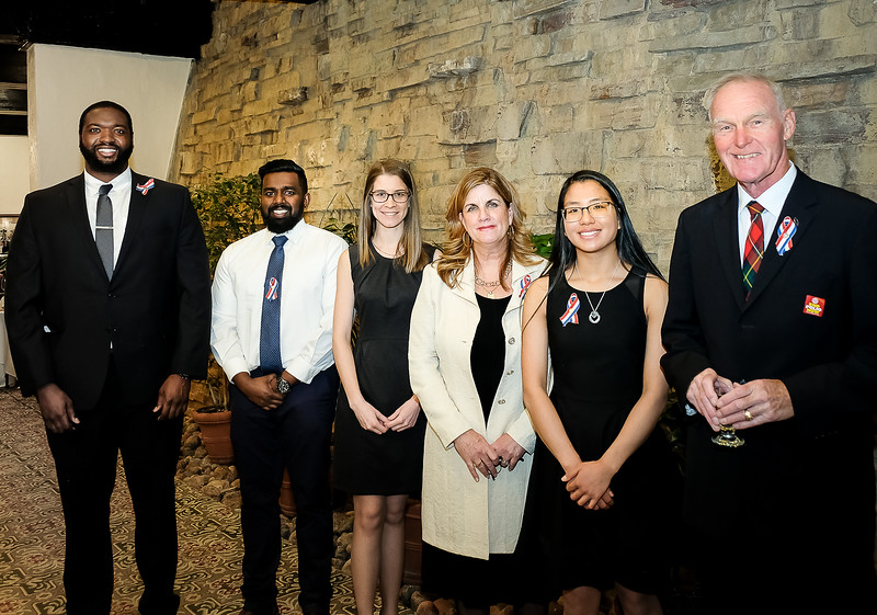 L-R: Jamal Campbell (Individual under 25); Taylor Jennings and Dhakshan Ravibalan for YMCA of Greater Toronto - Summer Day Camps for a Community Organization; Denise Bebenek, Lifetime Achievement Award; Claire Neilson, Individual under 18; Bruce Boyd, Individual award.    Two other recipients for the Business Award were delayed