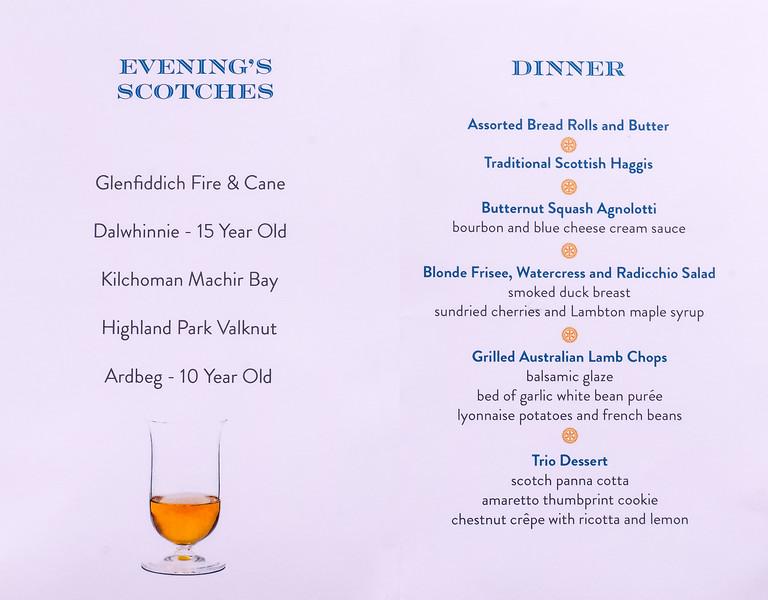 The evening's Scotch and Dinner menu