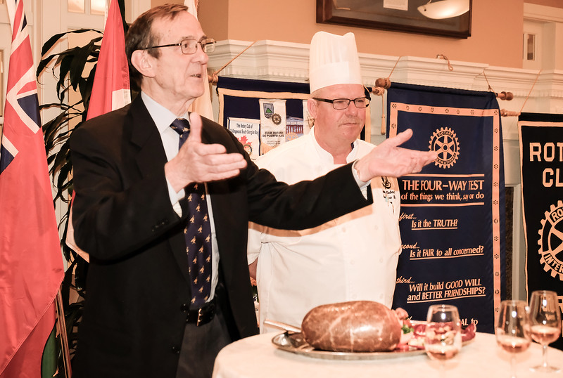 "Scotch presenter Ed Patrick gives the traditional ""Ode to the Haggis"""