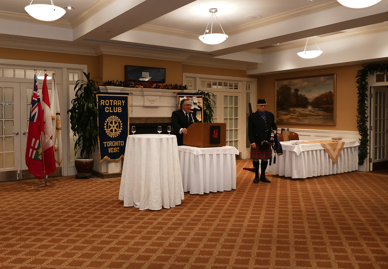 Bruce Gillies about to discuss many projects supported by Rotary Toronto West. VIDEO follows...