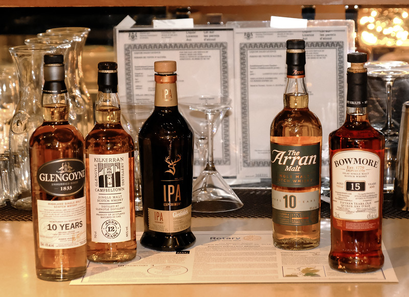 The lineup of Scotches being presented, all generously donated by their local representatives.